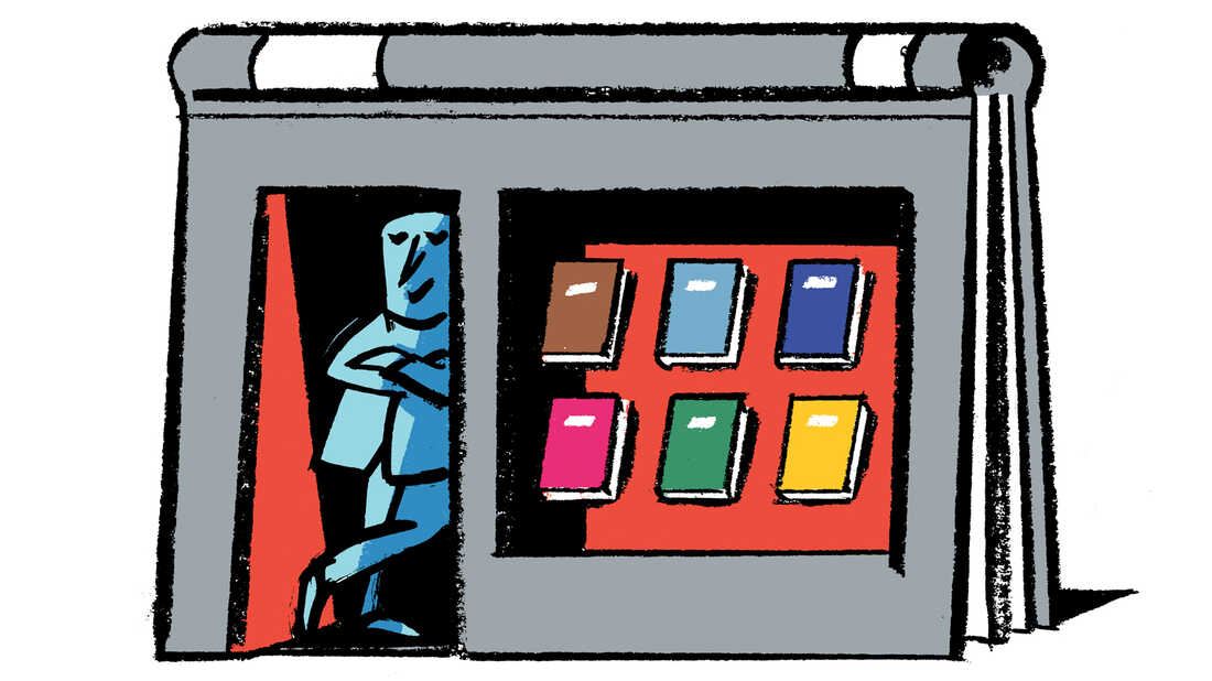 Illustration: A bookseller stands in the doorway of his shop.