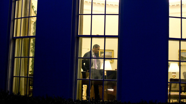 "President Obama in the Oval Office, where there may be some more late night bargaining sessions before a deal is reached to keep the federal government from going over the ""fiscal cliff."" (December 2009 file photo.) (The White House)"