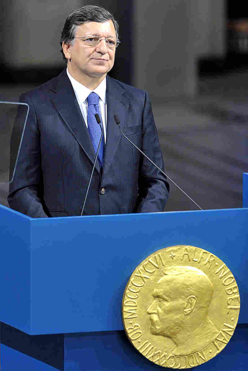 European Commission President Jose Manuel Barroso of Portugal during today's Nobel Peace Prize ceremony in Oslo.