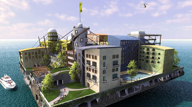 Andras Gyorfi's winning entry in The Seasteading Institute's 2009 design contest. The institute supports the idea of permanent, autonomous offshore communities, but it does not intend to construct its own seasteads. (Courtesy of The Seasteading Institute)