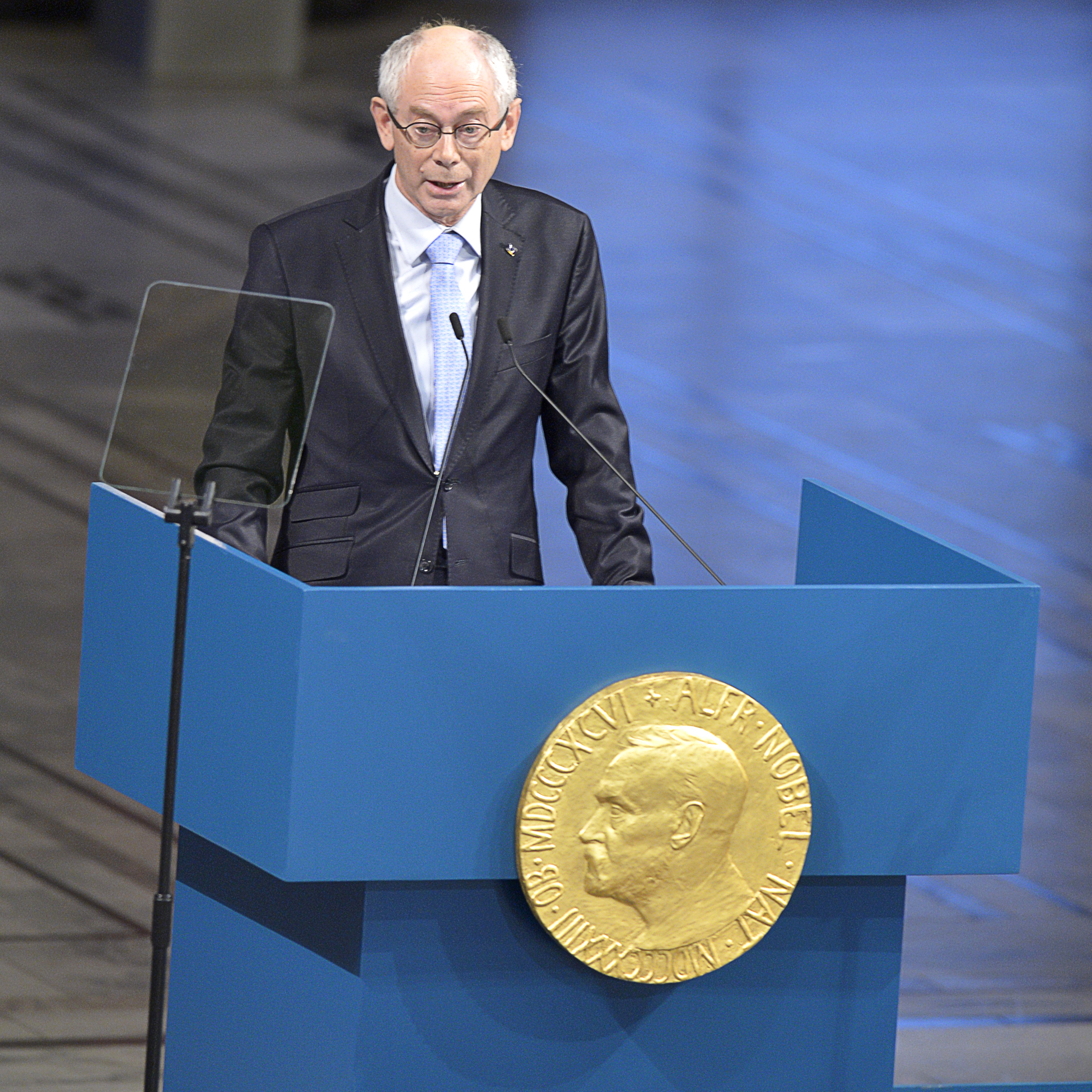 European Union President Herman Van Rompuy of Belgium at the Nobel Peace Prize ceremony in Oslo.