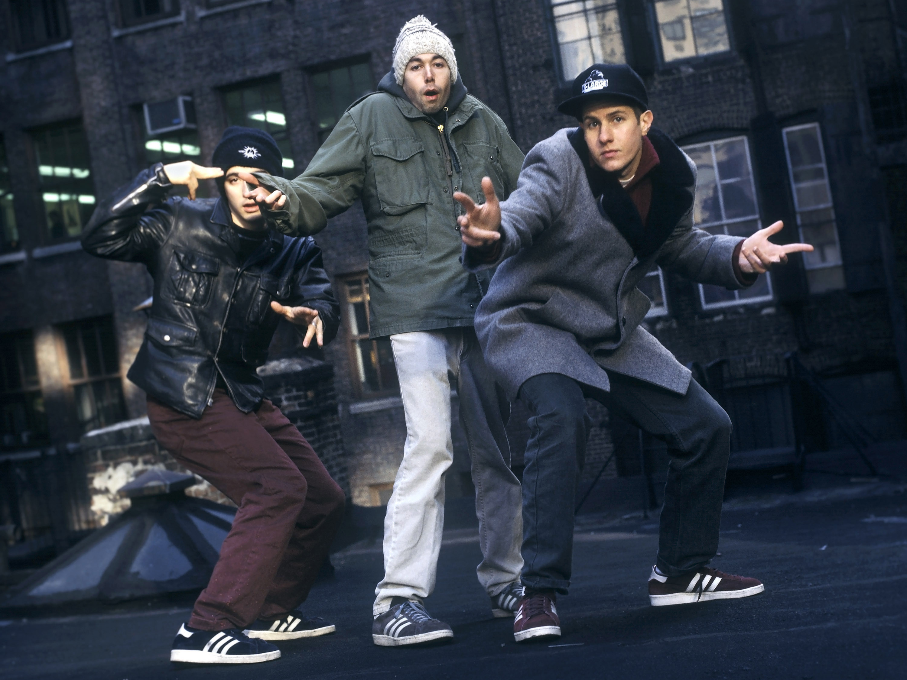 Ad-Rock (Adam Horovitz), MCA (Adam Yauch) and Mike D (Mike Diamond) of the Beastie Boys pose on a rooftop in New York City in 1994.