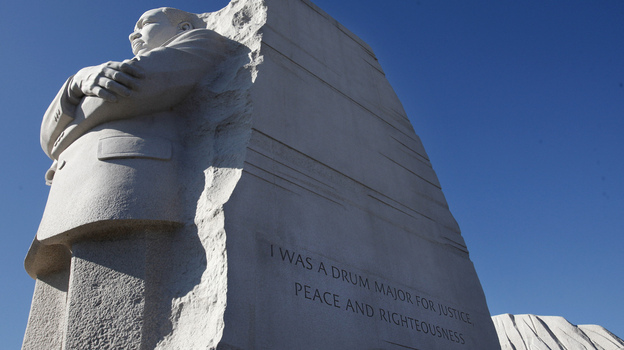 """The Martin Luther King, Jr. Memorial in Washington, D.C. Interior Secretary Ken Salazar endorsed a plan Tuesday to remove the disputed """"drum major"""" inscription from the memorial and replace it with a fuller version of the quote. (AP)"""
