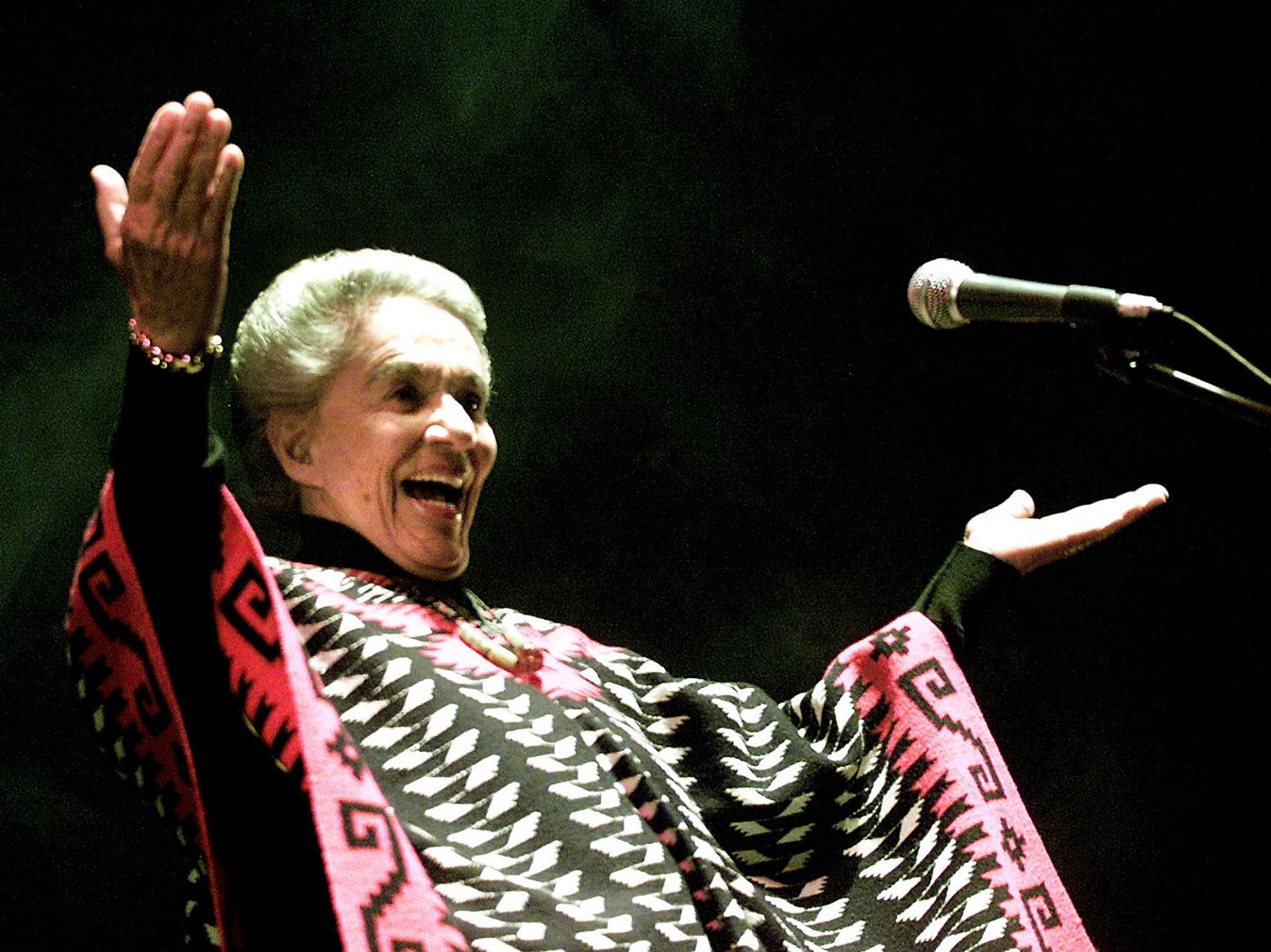 Costa Rican singer Chavela Vargas, 83, faces the crowd 12 October 2002, during her first presentation in Lima, Peru. Iconic Mexican singer Chavela Vargas, known for her mastery of the sad and sultry bolero, died on August 5, 2012. She was 93.