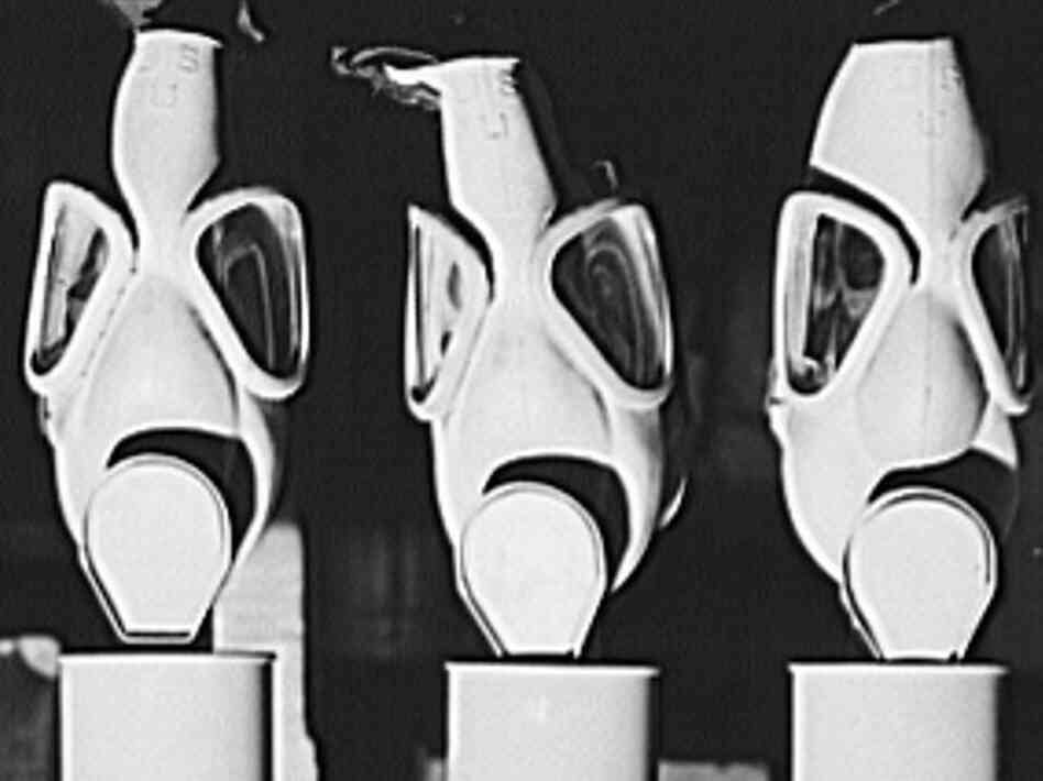 These gas masks were reconditioned at the Edgewood Arsenal for civilian defense use during World War II. Later, in the 1950s and '60s, the arsenal near the Chesapeake Bay was used for secret chemical weapons testing run by the U.S.