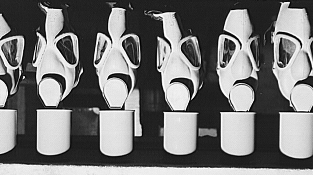 These gas masks were reconditioned at the Edgewood Arsenal for civilian defense use during World War II. Later, in the 1950s and '60s, the arsenal near the Chesapeake Bay was used for secret chemical weapons testing run by the U.S. Army. (Library of Congress)