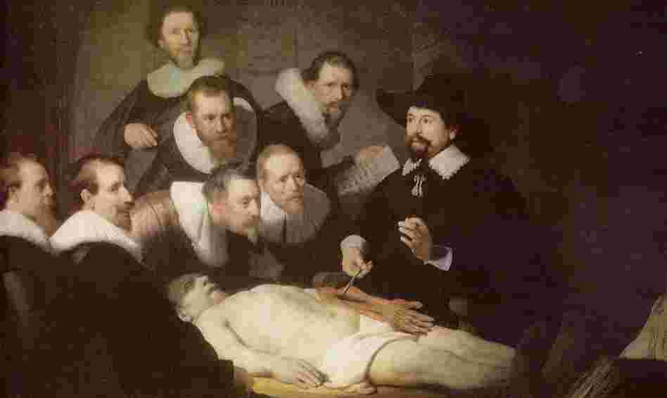 An autopsy helps medical students learn human anatomy in Rembrandt's painting The Anatomy Lesson of Dr. Nicolaes Tulp from 1632.