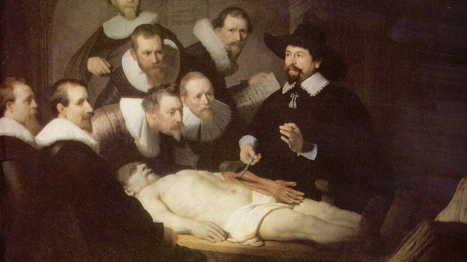 An autopsy helps medical students learn human anatomy in Rembrandt's painting The Anatomy Lesson of Dr. Nicolaes Tulp from 1632. (Wikimedia Commons)