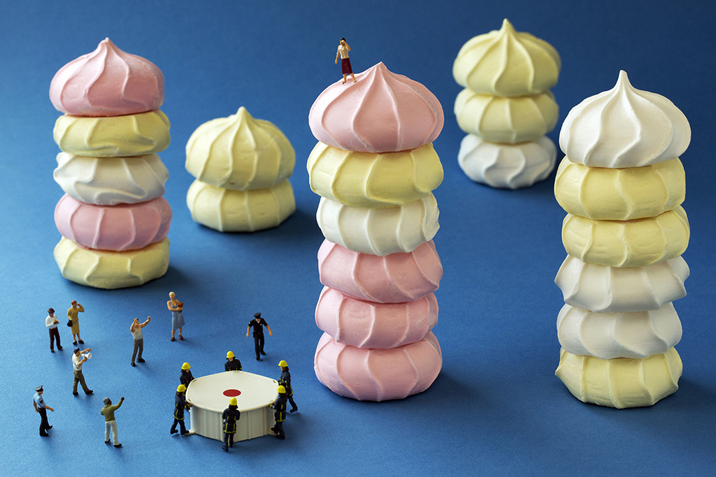 "Bitter End: ""Sally could imagine no end more glamorous than throwing herself off a tower of meringue cookies."""