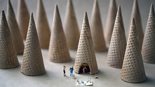"""""""When I was young the cones were so big you could drive a car through them."""" (Christopher Boffoli)"""