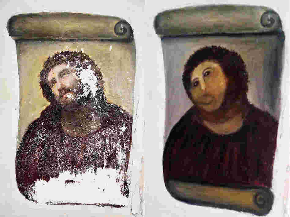 """Cecilia Gímenez's handiwork: the Ecce Homo (""""Behold the Man"""") fresco of Christ, left, and the """"restored"""" version, dubbed Ecce Mono (""""Behold the Monkey"""") at right. Now, the artist is trying her hand at selling her own art work."""