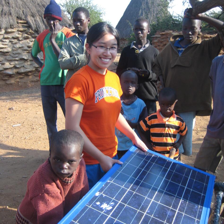 Full testing her rotating solar panel in Kenya in 2010. (Courtesy of Eden Full)