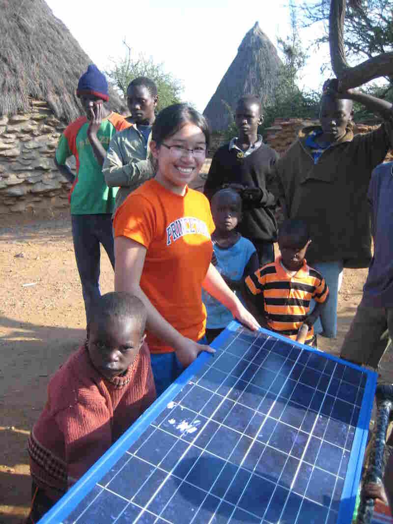 Full testing her rotating solar panel in Kenya in 2010.