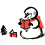 Illustration: A snowman reads a book.