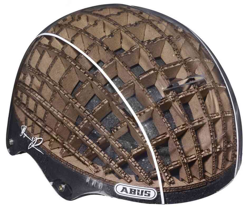Using a cardboard liner allows a cycling helmet to be