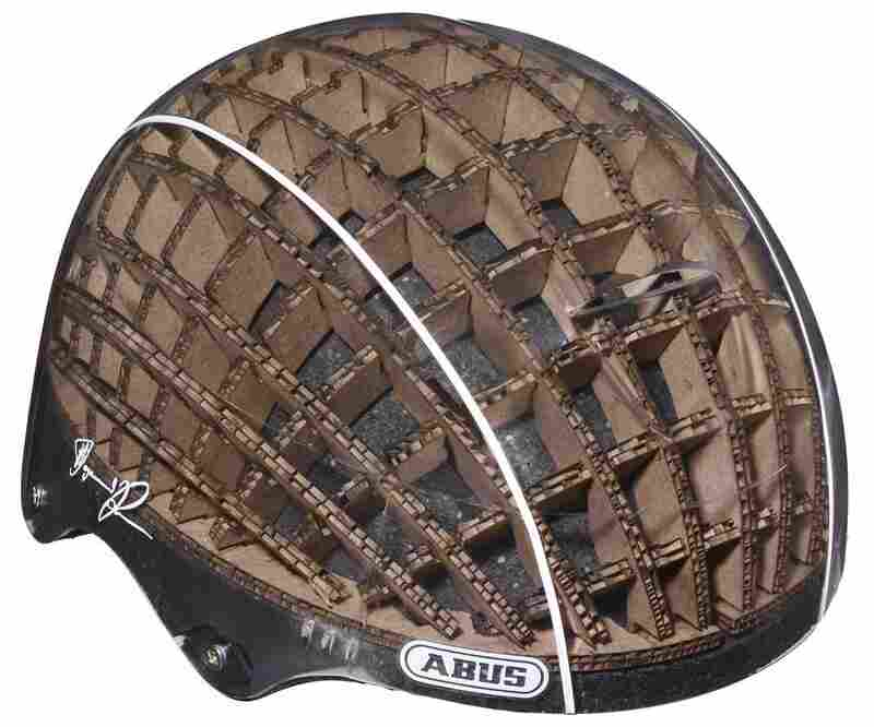Using a cardboard liner allows a cycling helmet to be lighter and stronger than standard models, says designerAnirudha Surabhi.