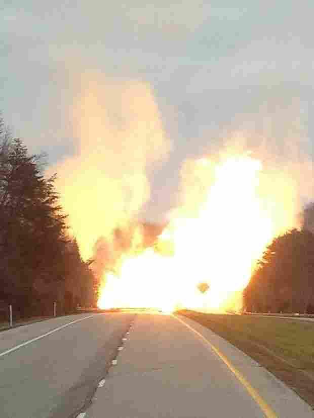 Pipeline fire on I-77 in West Virginia.