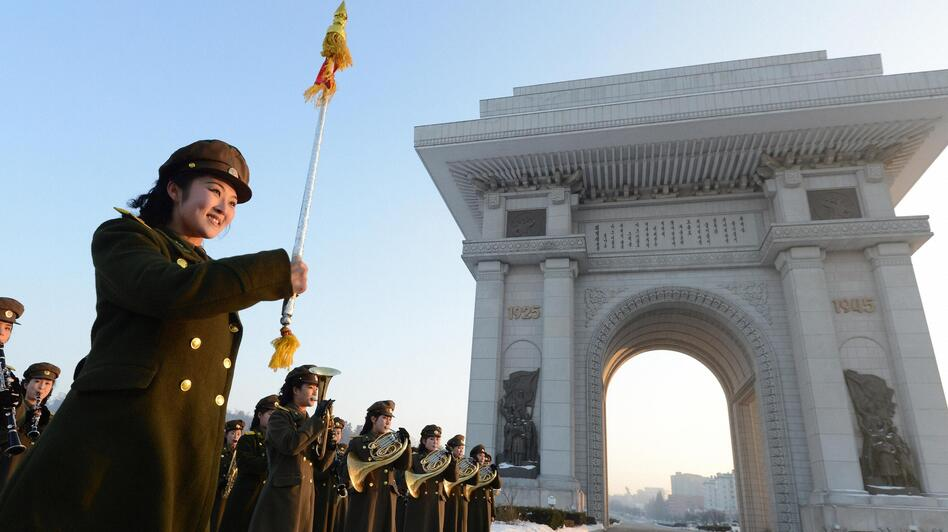 A North Korean military band performed today in Pyongyang to celebrate the country's rocket launch. Other nations, though, condemned the launch. (Reuters /Landov)