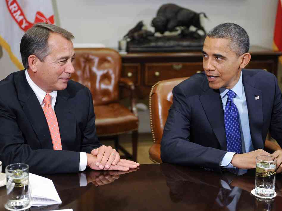 "President Barack Obama and Speaker of the House John Boehner met to discuss the impending ""fiscal cliff"" on Nov. 16, 2012."