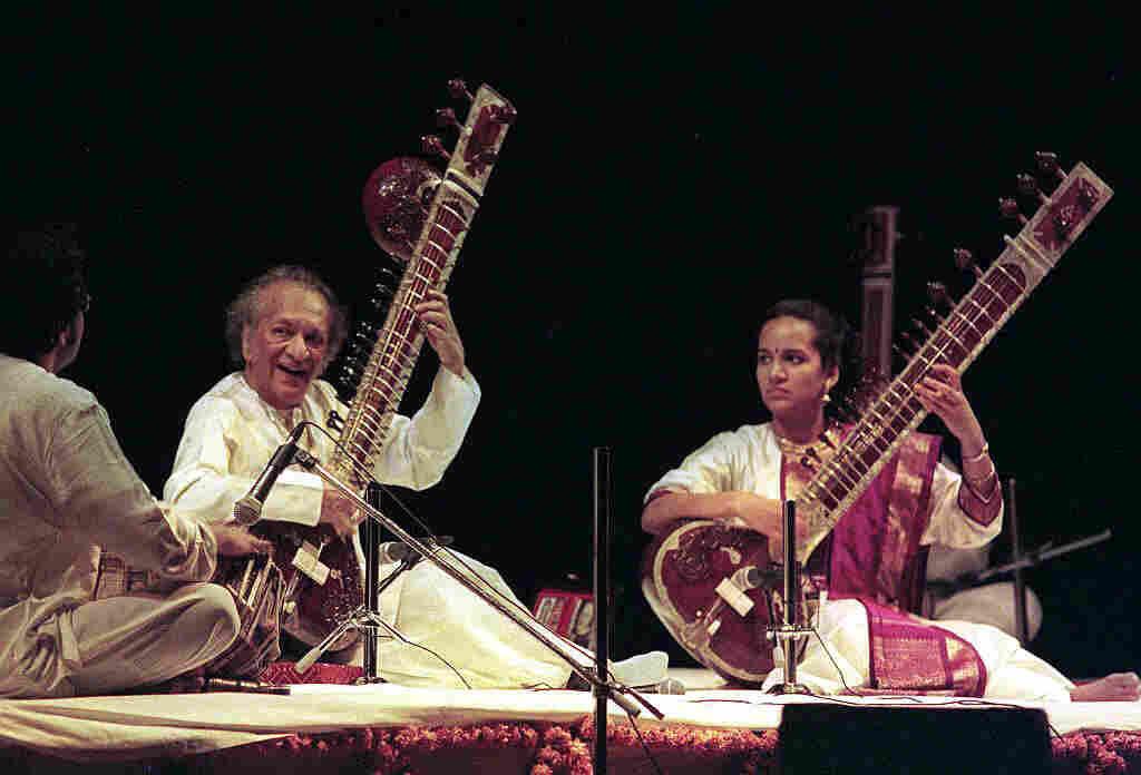 Ravi Shankar performs with his daughter, Anoushka Shankar.