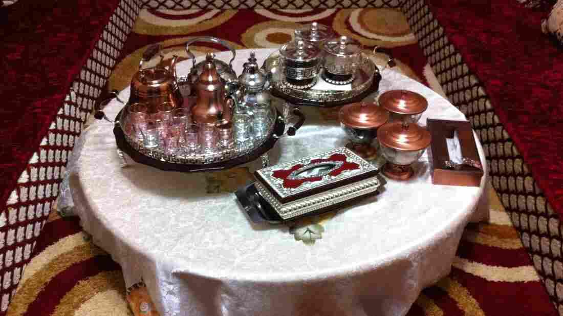 A high-end tea set in a Saharawi home in Western Sahara.