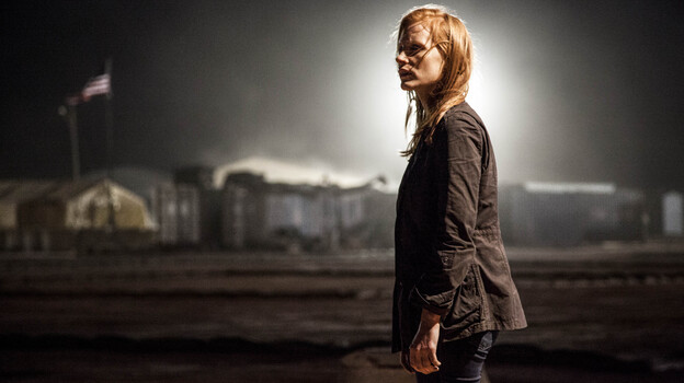 Stationed in a covert base overseas, Maya (Jessica Chastain) is a member of the elite team of spies and military operatives who secretly devote themselves to finding Osama bin Laden in Zero Dark Thirty. (Sony Pictures)