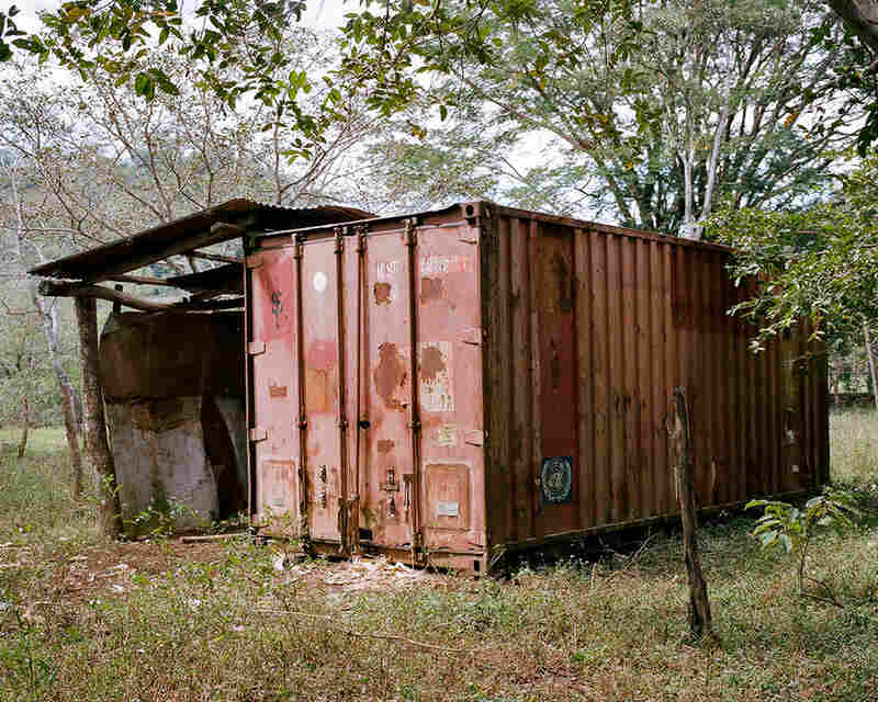 A shipping container used by the United Nations to store firearms that were turned in after the signing of the peace accords in 1992.
