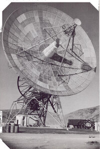 Radio signals from the Mariner spacecraft were received on three 85-foot antennas like this one, which were built in California's Mojave desert, near Johannesburg in South Africa, and near Woomera in southern Australia.