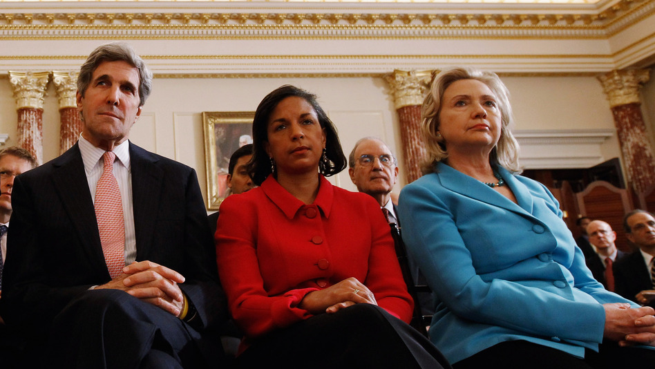 Sen. John Kerry, D-Mass., U.N. Ambassador Susan Rice, and Secretary of State Hillary Clinton listen to President Obama speak at the State Department in May 2011. With Rice withdrawing her name from consideration to succeed Clinton, speculation has turned to Kerry. (Getty Images)