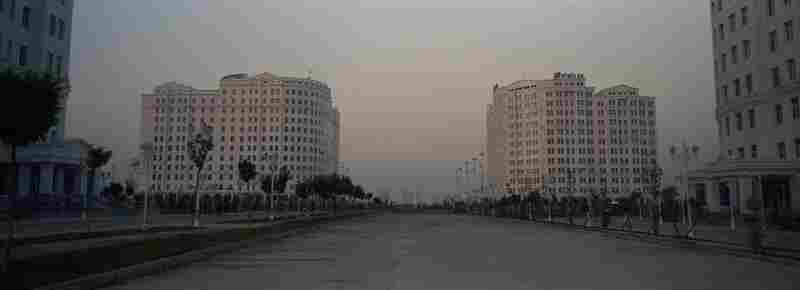The newly built district of Ashgabat, the capital of Turkmenistan, 2012. The government has been constructing a number of buildings with white marble in the city, showing wealth from the abundant gas resources.