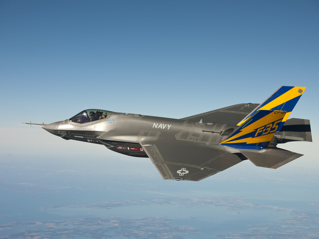 The U.S. Navy version of the F-35 Joint Strike Fighter conducts a test flight on Feb. 11, 2011, over the Chesapeake Bay in Maryland. The F-35 is the fighter jet of the future for the U.S. military, but its high cost and many delays have raised questions.