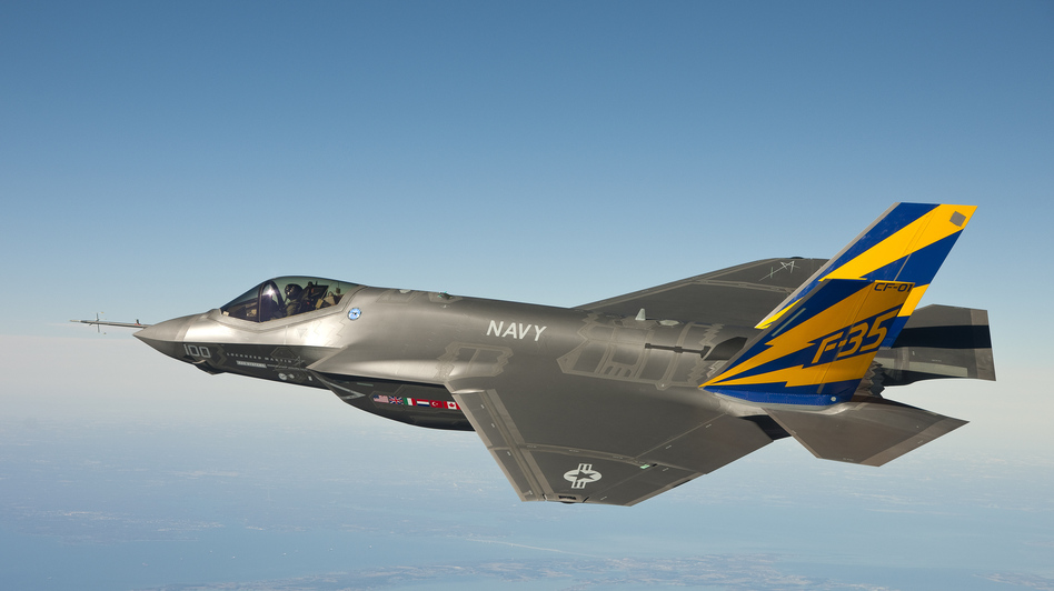 The U.S. Navy version of the F-35 Joint Strike Fighter conducts a test flight on Feb. 11, 2011, over the Chesapeake Bay in Maryland. The F-35 is the fighter jet of the future for the U.S. military, but its high cost and many delays have raised questions. (Lockheed Martin/Getty Images)