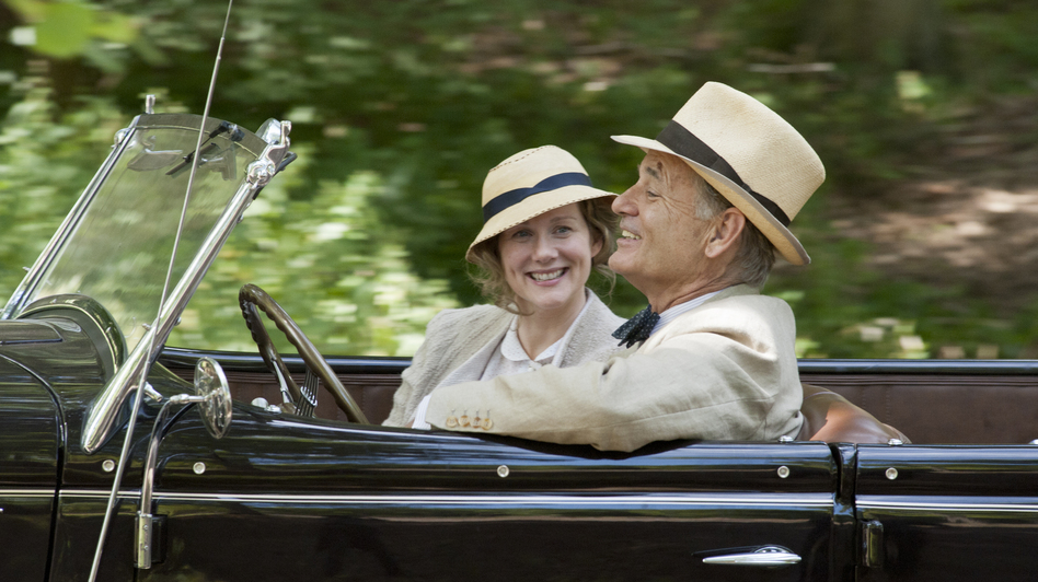 In Hyde Park on Hudson, Laura Linney plays one of President Franklin D. Roosevelt's (Bill Murray) distant cousins — a reserved, self-contained woman with whom he carried on a quiet affair. (Focus Features)
