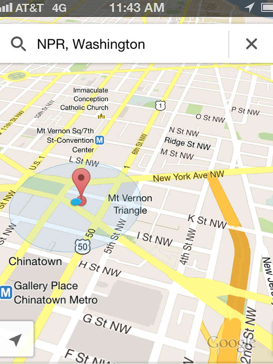 A screenshot of Google Maps on an iPhone.