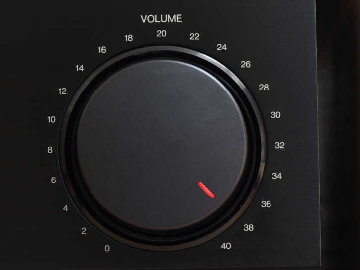 A volume knob turned up to the maximum.
