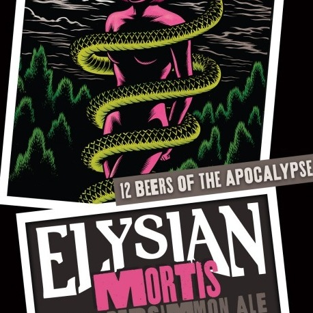 "Elysian released its Mortis Sour Persimmon Ale in November as part of its Twelve Beers of the Apocalypse. The label artwork features imagery from comic artist Charles Burns' ""Black Hole"" series."