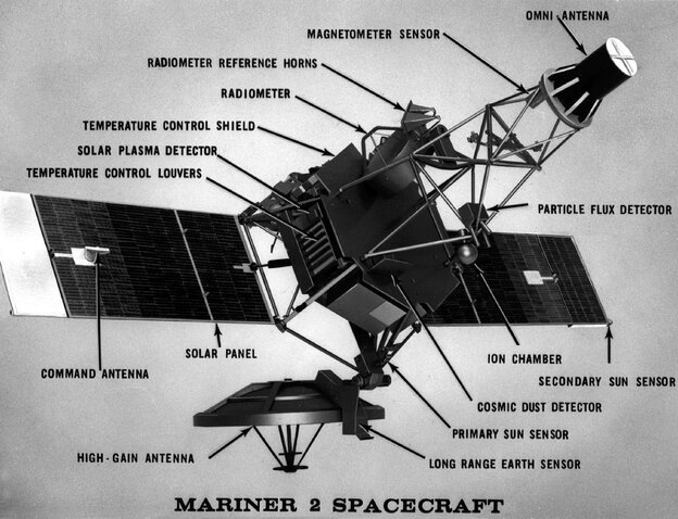 A diagram of the Mariner 2 Spacecraft.
