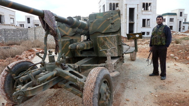 Northwest of Aleppo, Syria, this week, rebels were in control of this Syrian military base. (AFP/Getty Images)