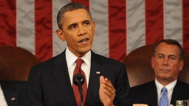 President Obama, with House Speaker John Boehner (R-Ohio) behind him, delivering his State of the Union address last January. (Getty Images)
