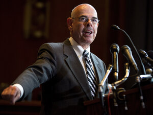 Rep. Henry Waxman, D-Calif., speaks Tuesday at a news conference calling for no reduction in the Medicare and Medicaid budgets, as part of the year-end budget talks on Capitol Hill in Washington. Waxman said he does not support means testin
