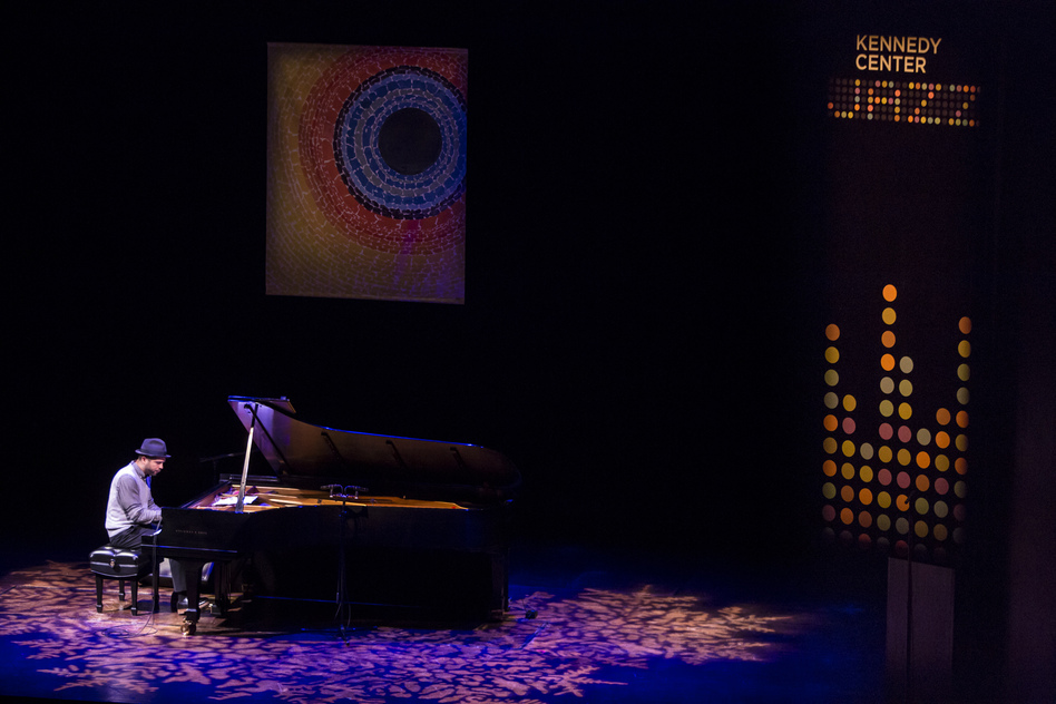 Jason Moran, the Kennedy Center's Artistic Advisor for Jazz, was the first to perform. (Brendan Hoffman for NPR)