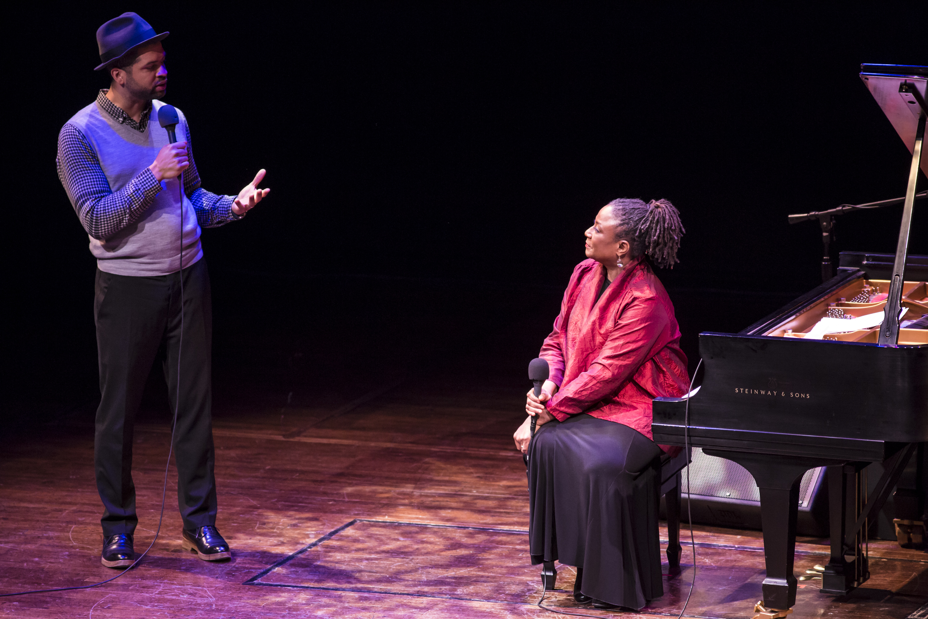 Jason Moran chats with Geri Allen on stage.