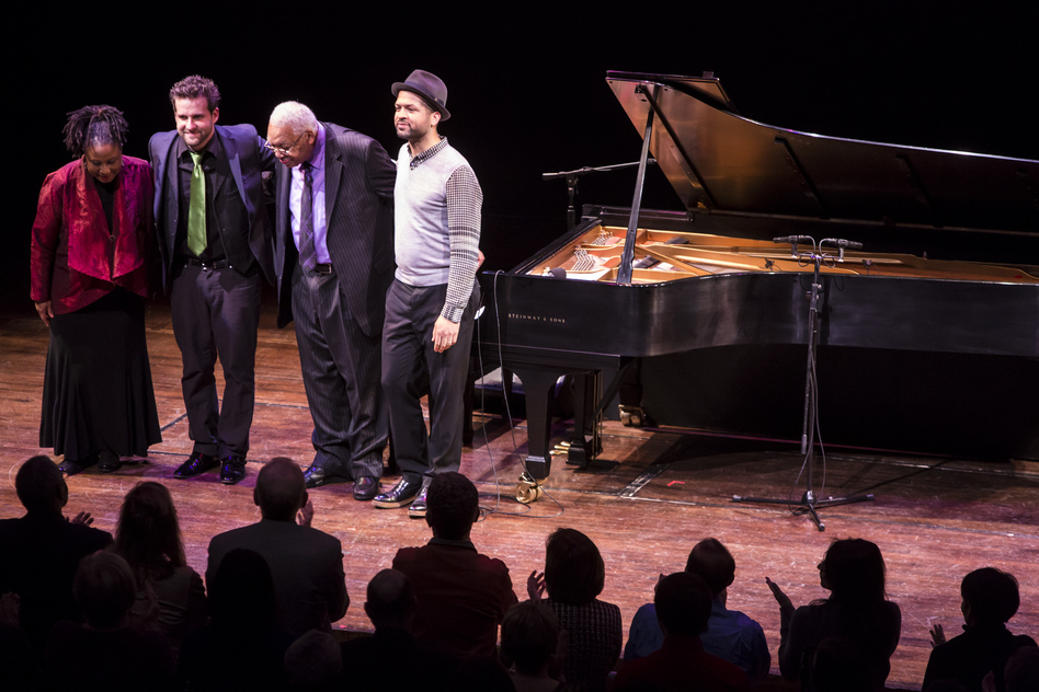 From left: Geri Allen, Taylor Eigsti, Ellis Marsalis and Jason Moran. (Brendan Hoffman for NPR)