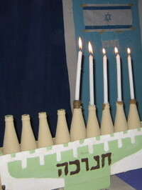 A handmade menorah in Abuja.