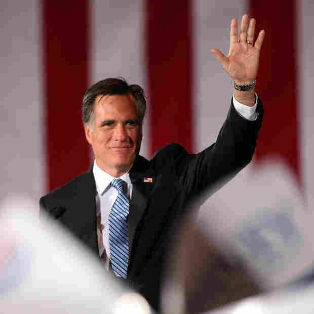 Republican presidential candidate, former Massachusetts Gov. Mitt Romney waves to supporters during an election party at the Red Rock Casino February 4, 2012 in Las Vegas, Nevada.