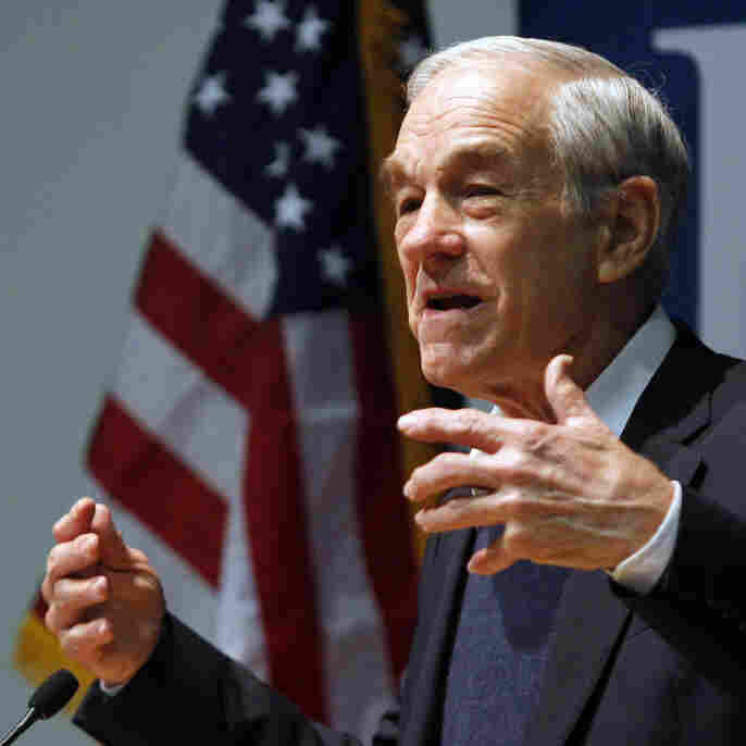 Republican presidential candidate, Rep. Ron Paul, R-Texas speaks at a campaign stop, Jan. 27, 2012, at Colby College in Waterville, Maine.