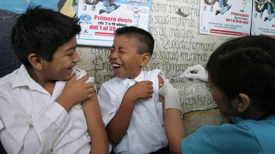 A boy in Lima, Peru, receives a hepatitis B vaccine during an immunization drive in 2008. The United Nations is considering a ban on the preservative thimerosal, which is often used in hepatitis B and oth