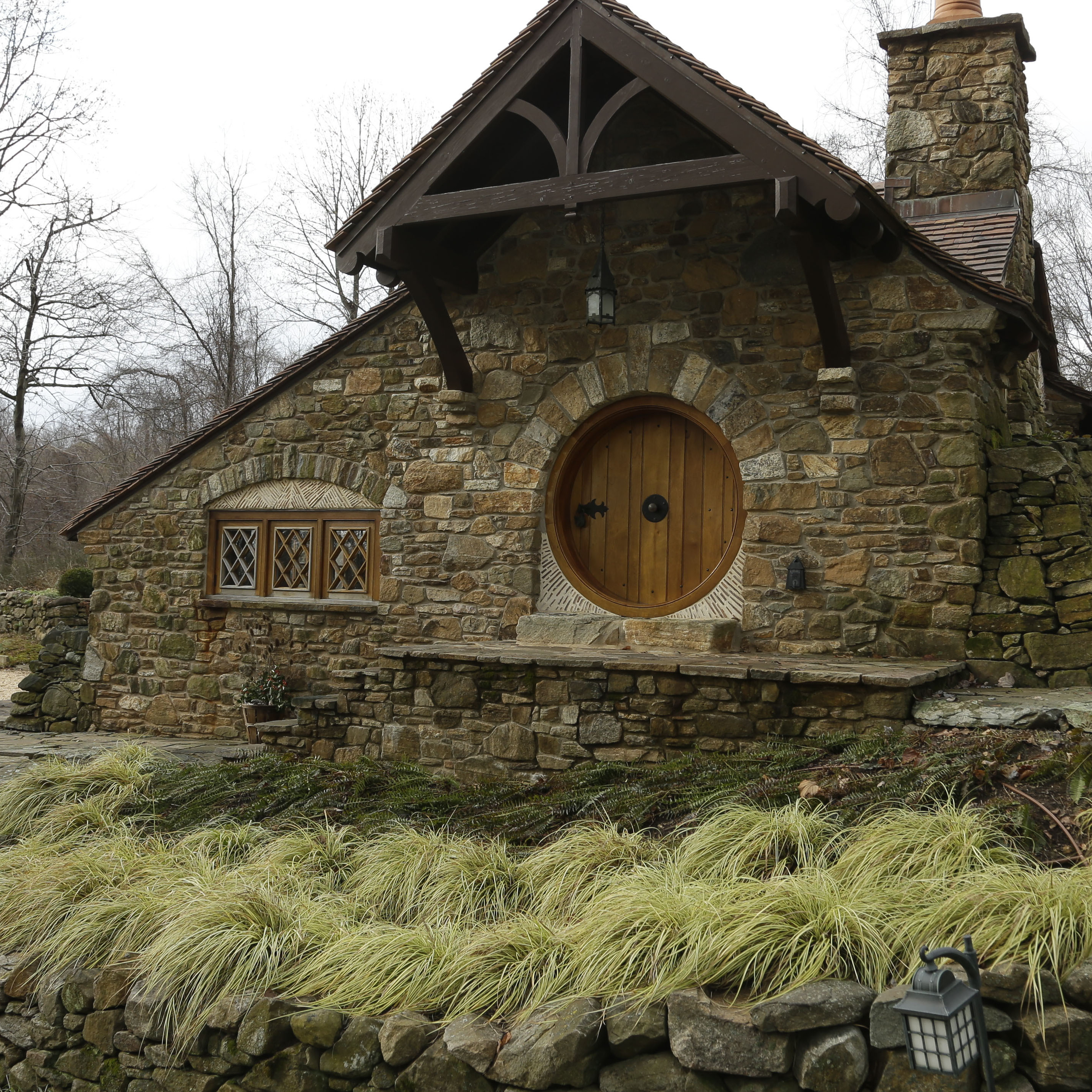 Shown is an exterior view of the Hobbit House in Chester County, near Philadelphia. Architect Peter Archer has designed a Hobbit House containing a world-class collection of J.R.R. Tolkien manuscripts and memorabilia.