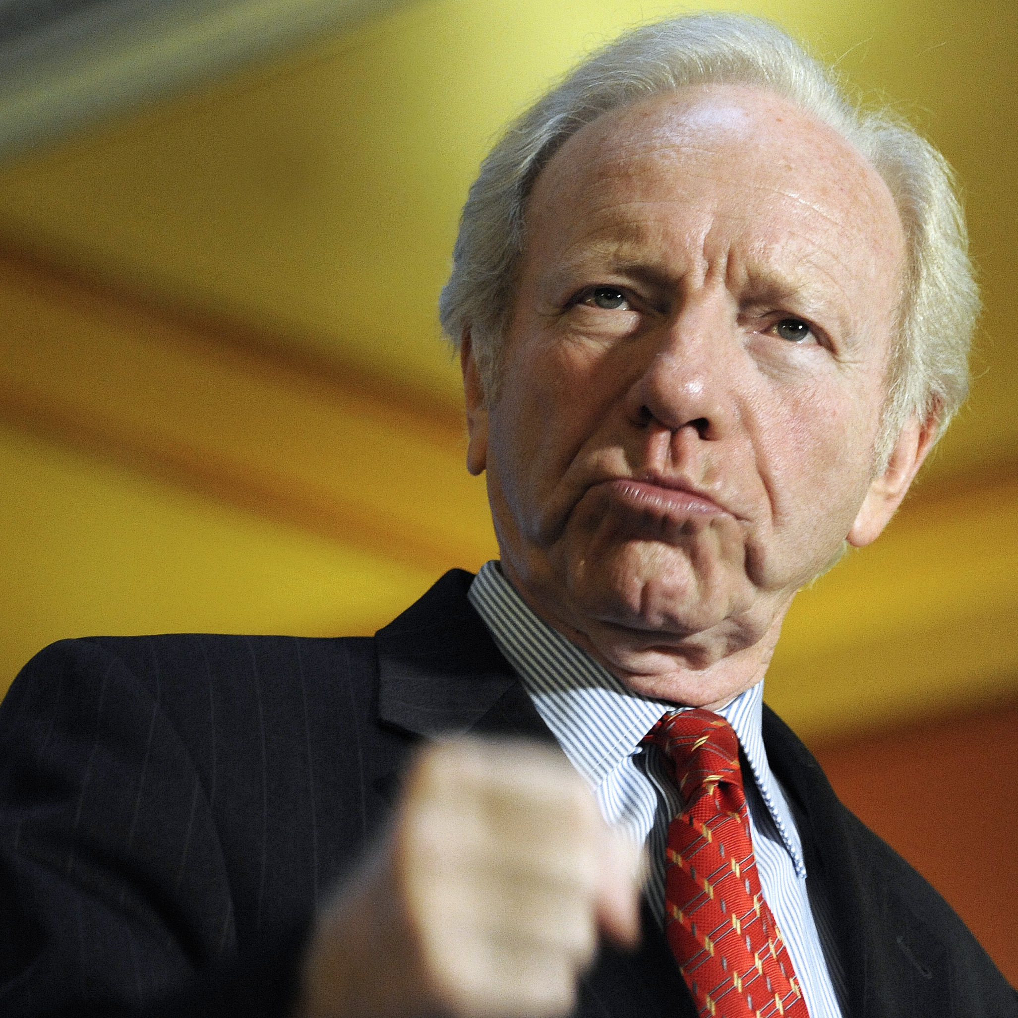 Sen. Joe Lieberman, an independent from Connecticut, at a news conference at the state Capitol in Hartford this month.