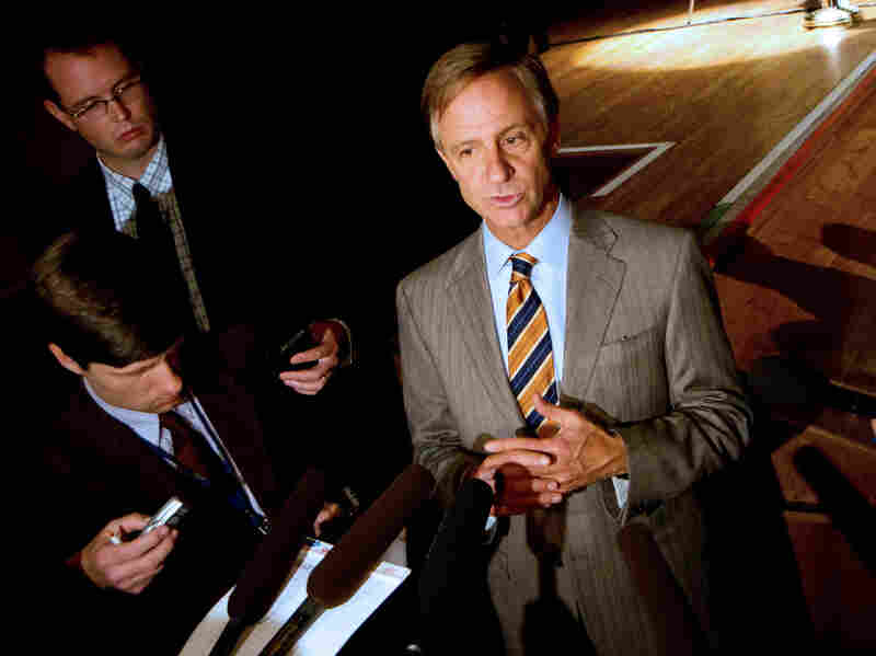 Gov. Bill Haslam speaks to reporters after announcing in Nashville, Tenn., on Monday that that he had decided against creating a state-run health insurance exchange. The Republican gover